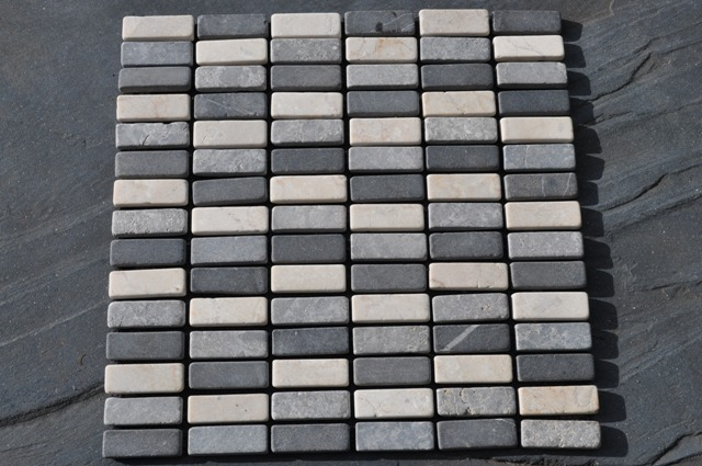 White Black Amp Grey Tumbled Marble Mosaic Tiles 1 M2